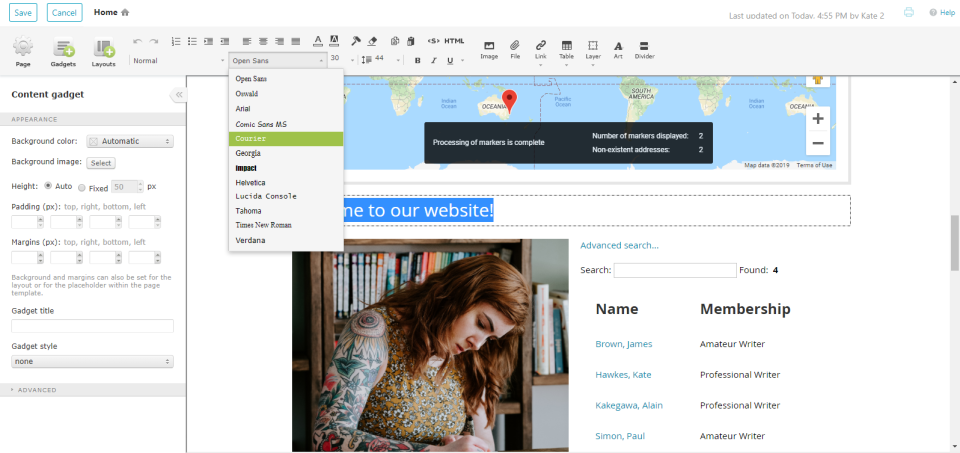 Wild Apricot church management software's in-built website builder interface