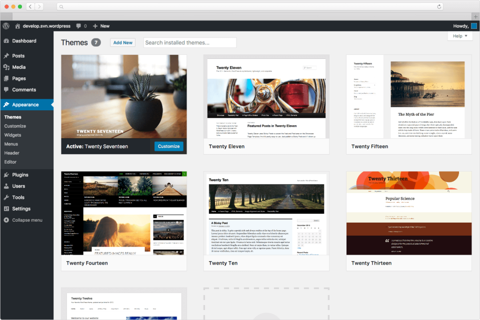 Screenshot Of WordPress