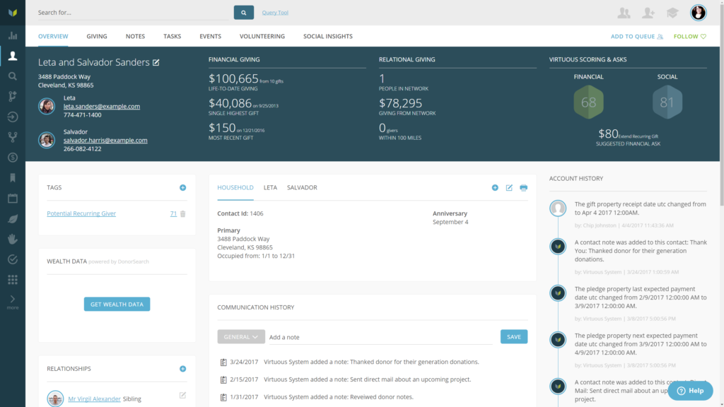 Screenshot Of Virtuous CRM