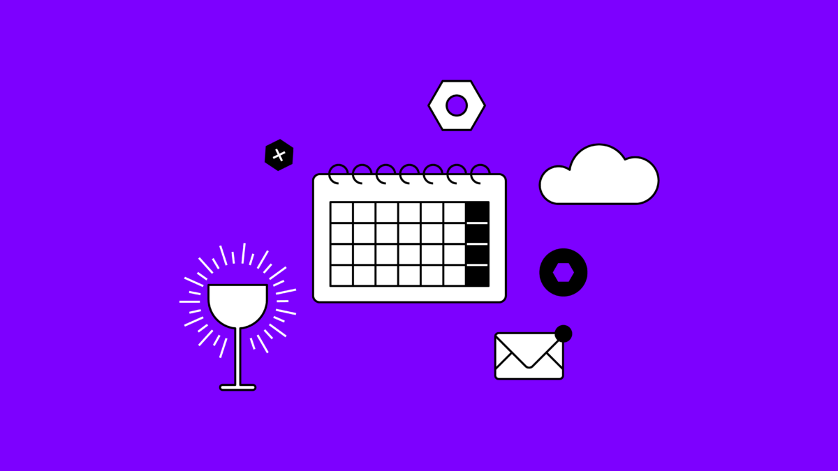 calendar, gears, cloud, email, and a chalice on a purple background