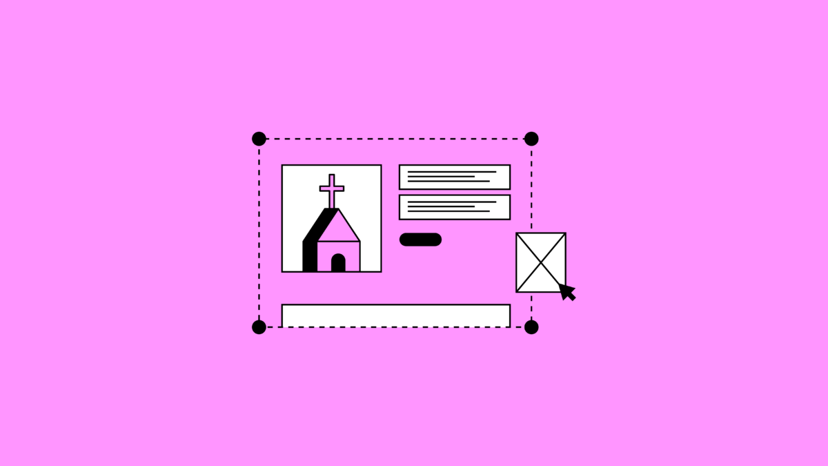 illustration of a screen that can be edited showing a church and text boxes