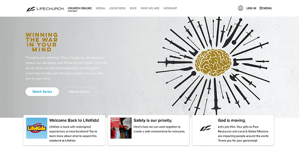 screenshot of lifechurch homepage website strategy