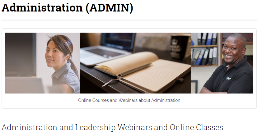 screenshot of administration and leadership webinars and online classes for church leadership training programs