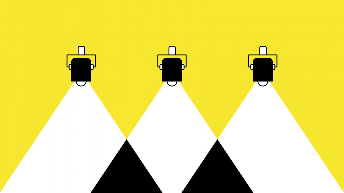 stage lights on a yellow background for church technology resources