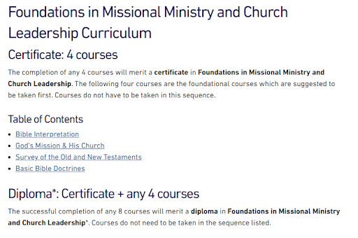 Foundations in Missional Ministry and Church Leadership Curriculum